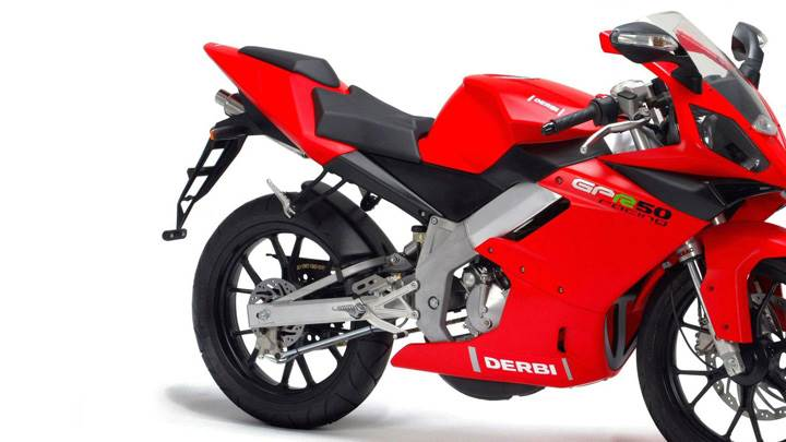 Derbi GPR 50 Racing In Red Side Pose And Whte Background